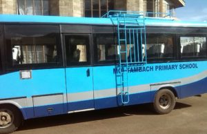 Moi Tambach Primary School Bus. The school produced the best candidate in the 2019 KCPE exams for Elgeyo Marakwet County.