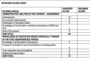 TSC Marking Scheme for teachers promotions.