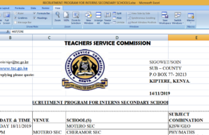 2019 TSC Intern teachers' Interview dates, time and Venues; Kericho County- Sigowet, Soin