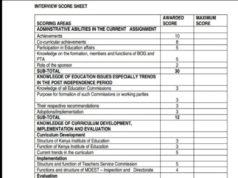Latest TSC interview marking scheme for school head teachers, principals and their deputies.