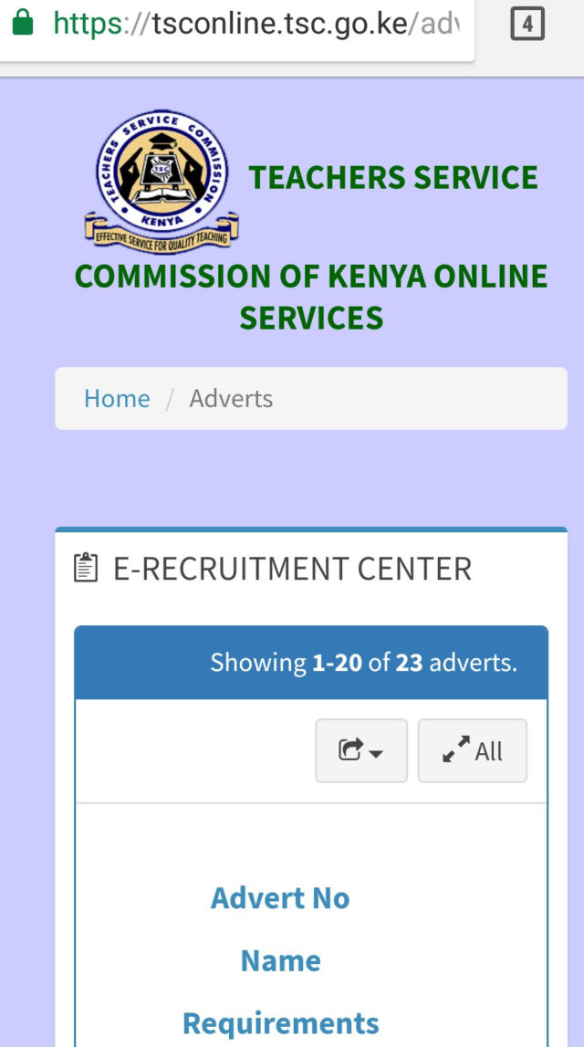 TSC online application portal for advertised teachers' promotions vacancies