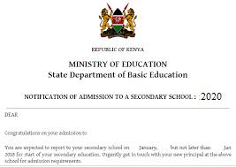 form one admission letter 2020