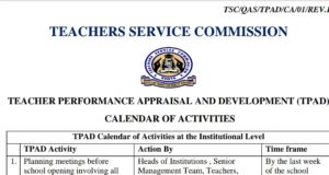 Calendar of Activities for the New TPAD 2 per term