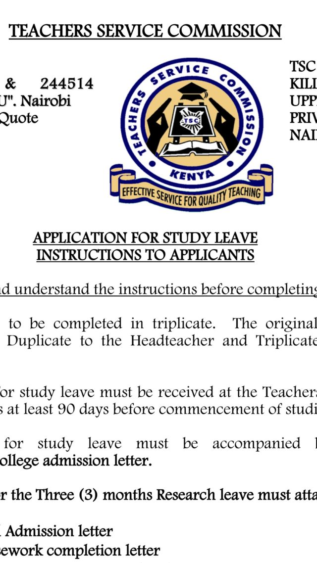 TSC Study Leave Application Form.