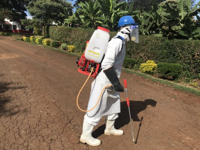Officers from the Ministry of Health carrying out Fumigation and COVID-19 Mass Testing. Photo/ Courtesy.