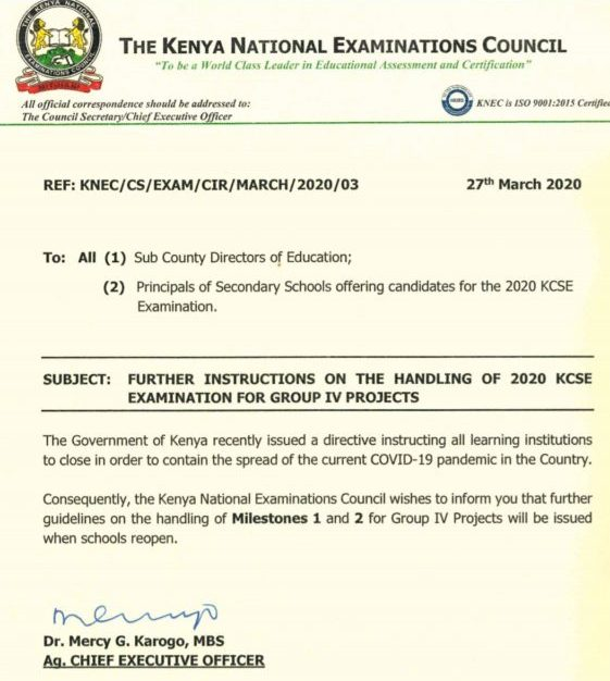 Status of uploads for 2020 KCSE Projects' Milestone 1 and 2 marks