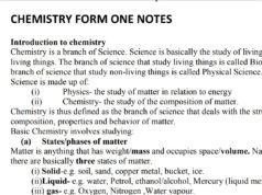 Free Chemistry notes, schemes, lesson plans, KCSE Past Papers, Termly Examinations, revision materials and marking schemes.
