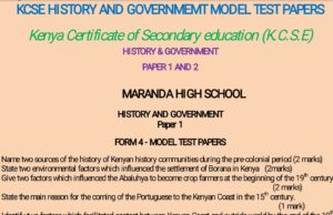 Free History & Government notes, schemes, lesson plans, KCSE Past Papers, Termly Examinations, revision materials and marking schemes.
