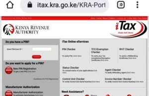 The KRA iTax window. Reset your forgotten KRA password by visiting this portal.