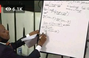 Embakasi East MP Babu Owino during his Maths lesson on Facebook. He has promised to live stream more lessons in Mathematics and Chemistry in coming weeks.