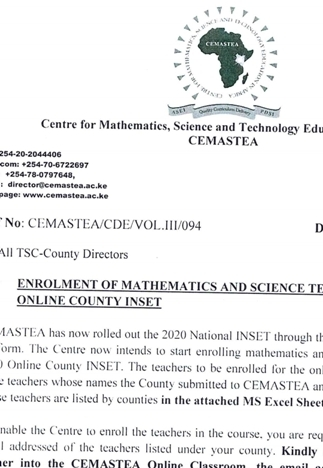 CEMASTEA circular on selected teachers for the 2020 county online training.
