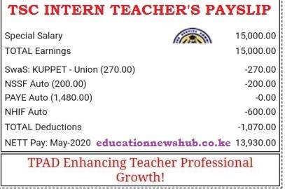 A TSC intern teacher's payslip.