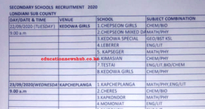 TSC interview dates per county 2020.