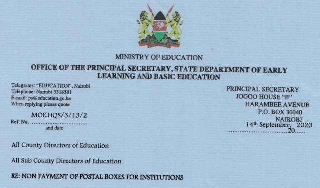 Education Ministry's Circular to schools over nonpayment of postal boxes fees.