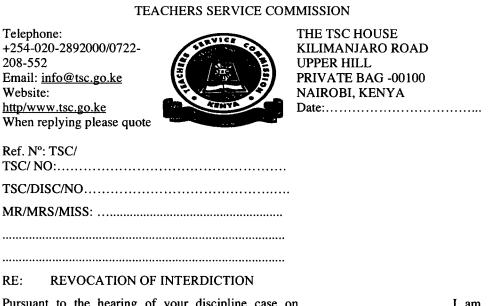 TSC revocation of interdiction letter for teachers.