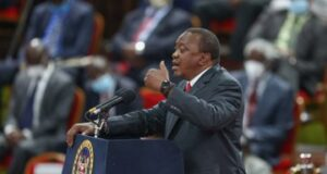 resident Uhuru Kenyatta makes his remarks during the launch of the BBI Report at the Bomas of Kenya on Monday. The Head of State urged Kenyans to support BBI saying the proposed reforms are aimed at uniting the nation, ensuring sustained peace and addressing youth unemployment among other national challenges.