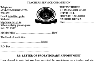 TSC letter of probationary appointment.