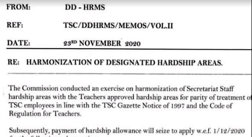 TSC Circular on revision of hardship areas.