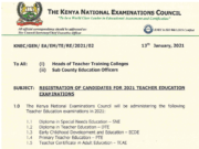 Teacher Training Colleges (TTC) 2021 Knec exams.