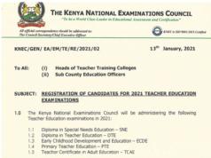 Teacher Training Colleges (TTC) 2021 Knec exams.