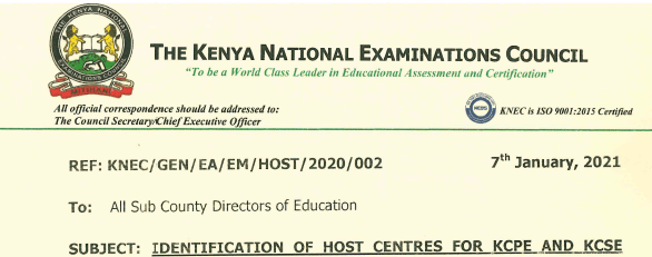 KNEC circular on conduct of 2020 KCSE and KCPE exams in March 2021.