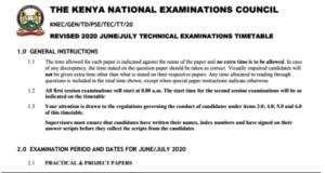 2021 Technical Exams Timetable.