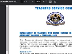 TSC advert for teachers recruitment in March 2021