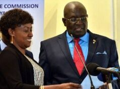 TSC Boss Dr Nancy Macharia (Left) with Education Cabinet Secretary Prof George Magoha.
