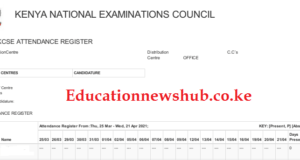 Knec attendance register 2021