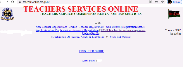 TSC online services system.