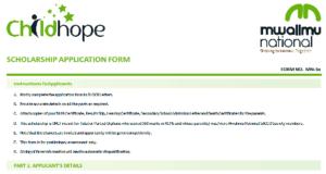 Form one 2021 free scholarship application form.
