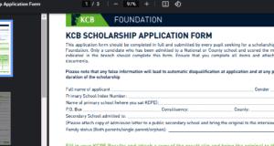 KCB scholarship application form 2021