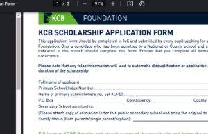 KCB scholarship application form 2021