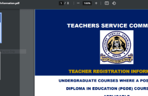New TSC Teaching Subjects Requirements
