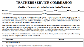 TSC Checklist of documents to be maintained by Heads of Schools