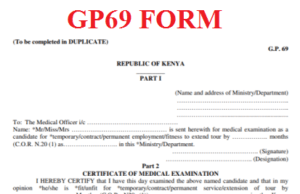 TSC Gp69 Form. The Medical Examination Report Form