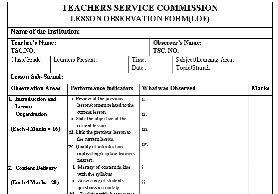 TSC New Lesson Observation Form.