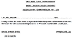 TSC Next of Kin Form pdf download.