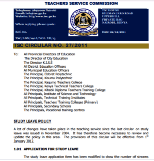 TSC latest circular on study leave application. Citizennewsline.