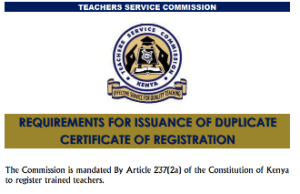 TSC latest requirements for issuance of a duplicate certificate of registration.