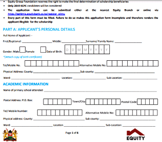 The Elimu Scholarship Application Form 2021