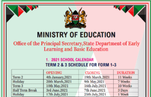 Ministry of education revised school calendar