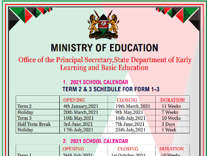 Ministry of education revised school calendar