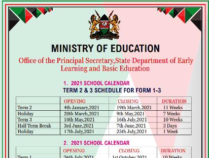 Tamu Academic Calendar 2022 2023.Ministry Of Education Term Dates 2021 Kenya