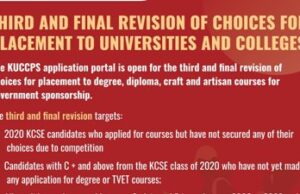 Kuccps third revision of Course Choices.