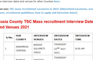 TSC mass recruitment interview dates and venues for Kakamega County