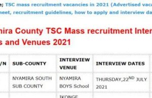 TSC mass recruitment interview dates and venues for Nyamira County