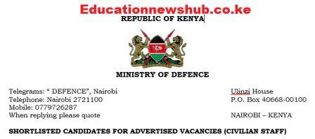 KDF shortlisted applicants