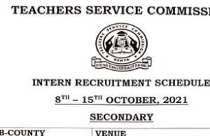 TSC Intern Recruitment Schedule October 2021